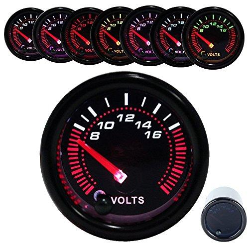 JUDING Voltage Meter Black Volt Gauge 8-16V Universal Meter 7-Colors LED 52mm 2