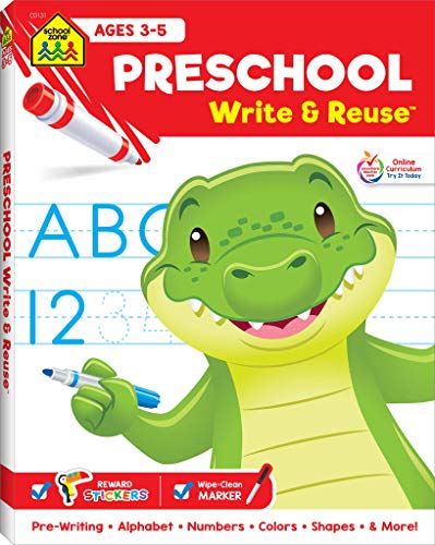 (School Zone - Preschool Write & Reuse Workbook - Ages 3 to 5, Alphabet, ABCs, Uppercase and Lowercase, Beginning Sounds, Shapes, Numbers 1-20, Printing, Tracing, Wipe Clean)