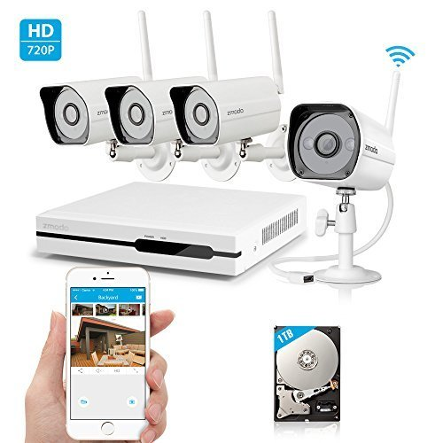 JUNWER Wireless Indoor Outdoor Smart Home Security Camera System 4CH NVR System 1TB Hard Drive