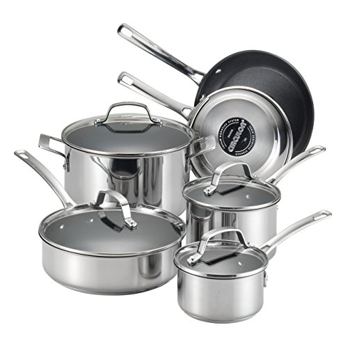 Circulon 77881 Genesis Stainless Steel Cookware Pots and Pans Set, 10 Piece
