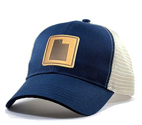 (Homeland Tees Men's Utah Leather Patch Trucker Hat - Blue)