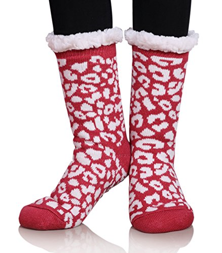 MIUBEAR Womens Thermal Slipper Socks Sherpa Lined Nonskid Fuzzy Cozy Winter Socks (Red) (Plus Lined Stockings Size)