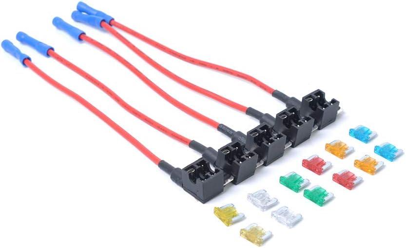 Eleganantstunning 5 X Mini Add A Circuit Auto Low Profile Blade Style Inline Sicherungshalter Mit 12 Sicherungen Auto