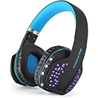 Beexcellent Bluetooth Headphones Wireless Foldable Noise Cancelling Over-ear Headset with Microphone LED Light for PS4 PSP Laptop Computer(Q2 Blue)