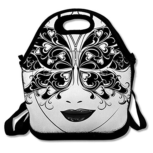 Women Lunch Bag for Men Mardi Butterfly Masks Masquerade Gras Ornate Holidays Party Black White Actor Design Event Reusable Insulated Girl Lunch Tote for Office Picnic or School