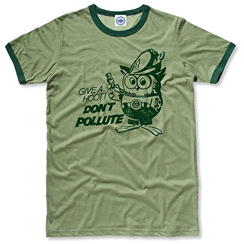 (Hank Player U.S.A. Official Woodsy Owl Men's Ringer T-Shirt (S, Heather Green) )