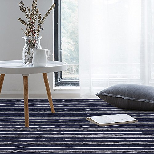 Weave Sofa (Nordic Blue White Striped Floor Mat / Area Rug by Freelove,Cotton thread Weave,Breathable,Table Covers,Sofa Slipcovers,Chair Pads,Wooden Floor Carpet (14'' by 35''(60x90cm)))
