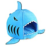 Cheap COCOPET Shark Bed for Small Cat Dog Cave Cozy Bed Removable Cushion,waterproof Bottom Blue S
