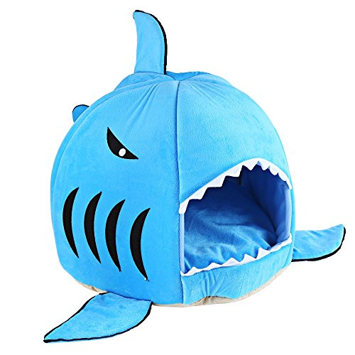 COCOPET Shark Bed for Small Cat Dog Cave Cozy Bed Removable Cushion,waterproof Bottom Blue S For Sale