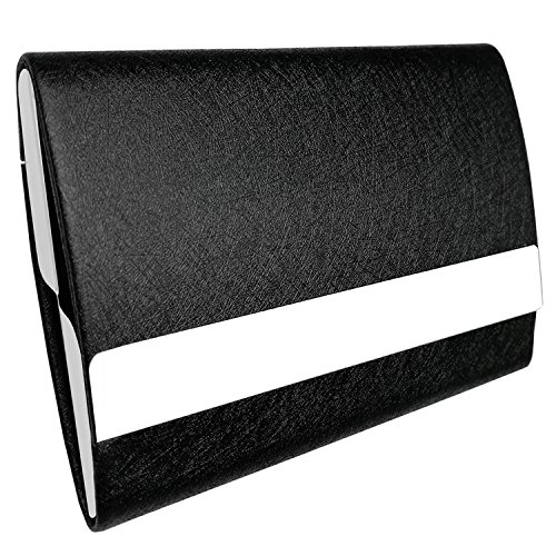 Bolier Professional Business Card Holder 100% Handmade Leather Business Card Case for Men and Women (Double Sided Black)