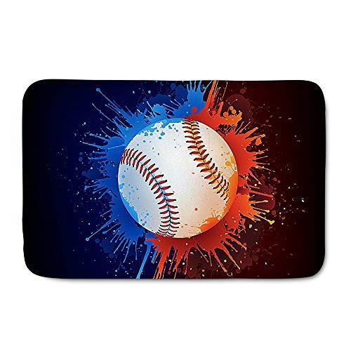 WHEREISART Flannel Sports Ball Doormat,Home Decor Hipster Cool Baseball Doormat Front Door Carpet Welcome Shoes Scraper Indoor Mat Gift -