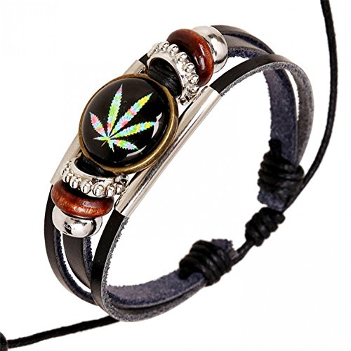 [BMALL Leather Punk Rock Colorful Maple Leaf Infinity Leather Bracelet Lb1434] (Makers Mark Costume)