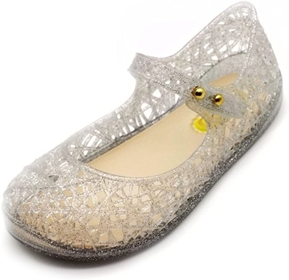 Comes with 1 Pair of Bows Tie Toddler Girls Mary Jane Flat Jelly Shoes White Dots Kids Sandals