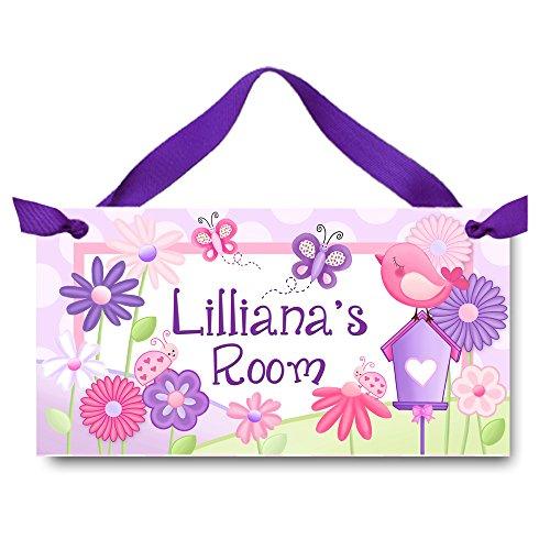 Girl Sign - Toad and Lily Garden Friends Purple Pink Flowers and Butterflies Girls Bedroom DOOR SIGN DS0409