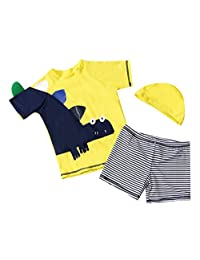 Happy Cherry Baby Boys' 3PCS Swimwear Set with Swimming Cap for 1-10T Girls