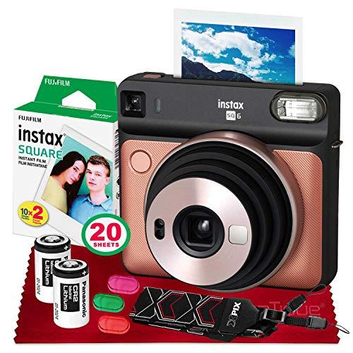 Fujifilm instax Square SQ6 Instant Film Camera (Blush Gold) + 20 Sheets Instant Square Film + Xpix Camera Strap + Fibertique Cloth