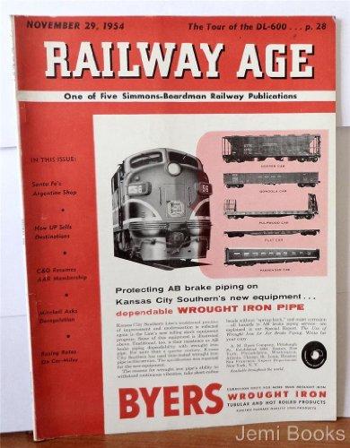 Railway Age Magazine November 29 1954 : Santa Fe's Argentine Shop, Hopper Car, Gondola Car, Pulpwood Car, Flat Car, Passenger Car