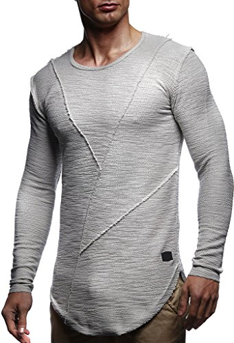 - LEIF NELSON Men's Oversized Long Sleeve T-shirt Sweatshirt LN6323; Small, Dark Gray