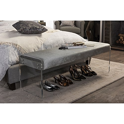 Acrylic Contemporary (Baxton Studio Hildon Modern and Contemporary Microsuede Fabric Upholstered Luxe Bench with Paneled Acrylic Legs, Grey)