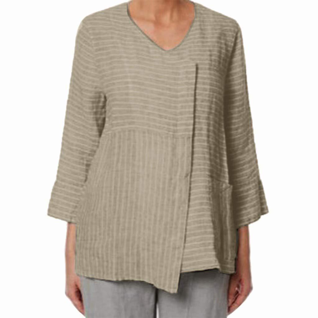 Barthylomo Women's 3/4 Sleeve Cotton Linen Blouse Asymmetrical Hem Top T-Shirt