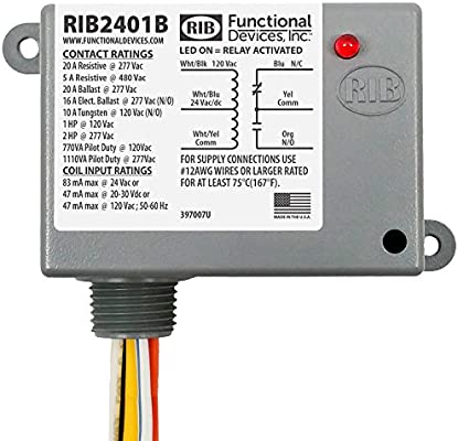 Amazon.com: Functional Devices RIB2401B Power Relay, 20 Amp SPDT, 24  Vac/dc/120 Vac Coil, NEMA 1 Housing: Industrial & ScientificAmazon.com