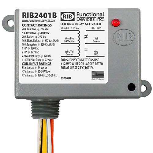 Functional Devices RIB2401B Power Relay, 20 Amp SPDT, 24 Vac/dc/120 Vac Coil, NEMA 1 Housing