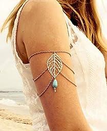 Multi Chain Tassel Waterdrop Metal Bracelet Turquoise beads Armlet Cuff Gothic