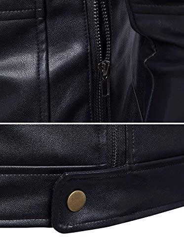 Pelle Abiti Risvolto Modern Art Lunga Con In Uomo Retro Da Leather Nero Fit Giacca Biker Capispalla B008 Bomber Comode Manica Slim Leisure Cerniera Taglie RPBcwaq