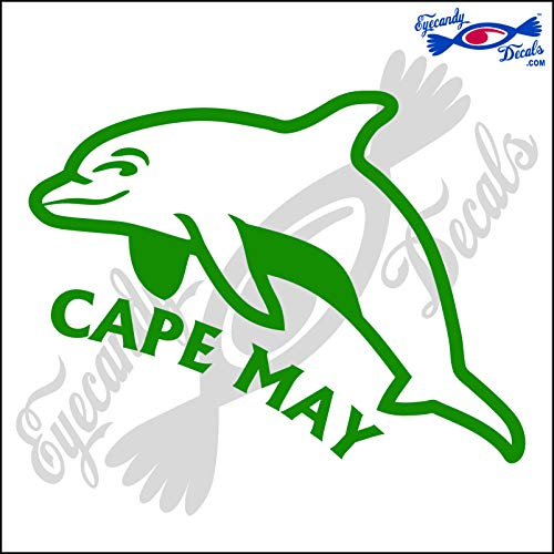Eyecandy Decals Dolphin with Cape May New Jersey 6 INCH Decal Green