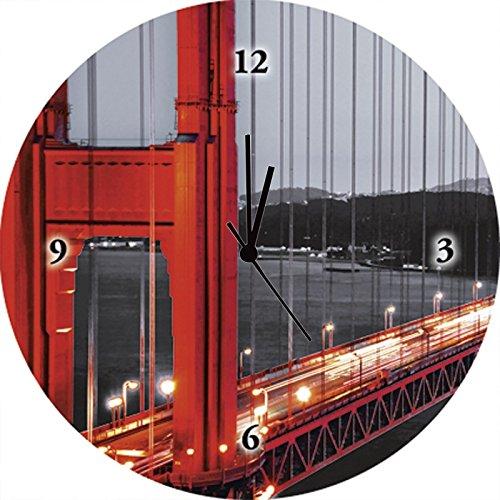 Artland Qualitätsuhren I Funk Wanduhr Designer Uhr Glas Funkuhr Größe: 35 Ø Brücken Rot G1OF