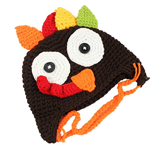 (Holiday Thanksgiving Costume Baby Thanksgiving Turkey Hat, Knitted Crochet Costume Hat Caps for Unisex Baby Toddler, Coffee,)
