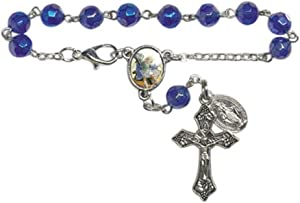 Religious Gifts Blue Glass Prayer Bead Saint Michael Auto Rosary with Miraculous Medal, 5 3/4 Inch