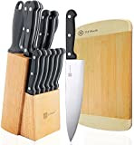 "Cheap Knife Set with Block 15-Piece Stainless Steel Kitchen Knives Set 8″ Chef Slicing Bread 5″ Utility 3½"" Paring 4½"" Steak Knives x 6 Sharpener Steel Bamboo Board"