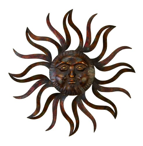 "Deco 79 97918 Extra Large Black, Metallic Gold & Bronze Pierced Metal Sun Garden Decor, Hanging Outdoor Wall Decor, 37"" x 37"" -"