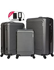 Cheergo Luggage 3 Piece Set Suitcase ABS Material PC Hardside 20 24 28 Spinner lightweight suitcases with spinner...