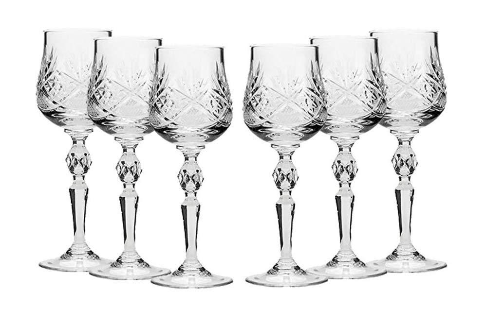 Amazon.com: Set de 6 vasos de chupito de vidrio corte de ...