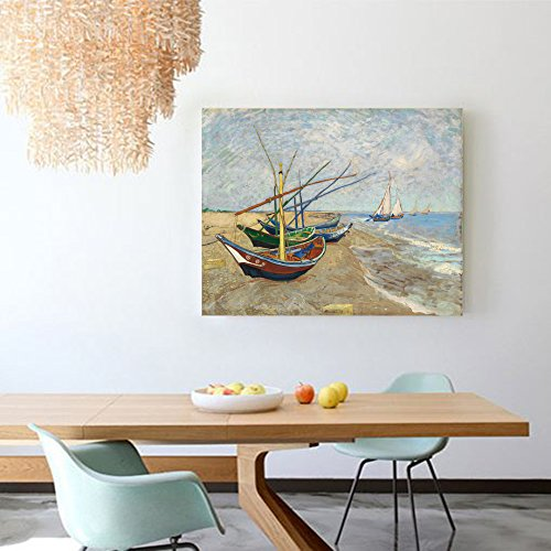 Niwo Art (TM) - Fishing Boats on the Beach, by Vincent van Gogh - Oil painting Reproductions - Giclee Canvas Prints Wall Art for Home Decor, Stretched and Framed Ready to Hang (20 x 24 x 1.5 Inch)