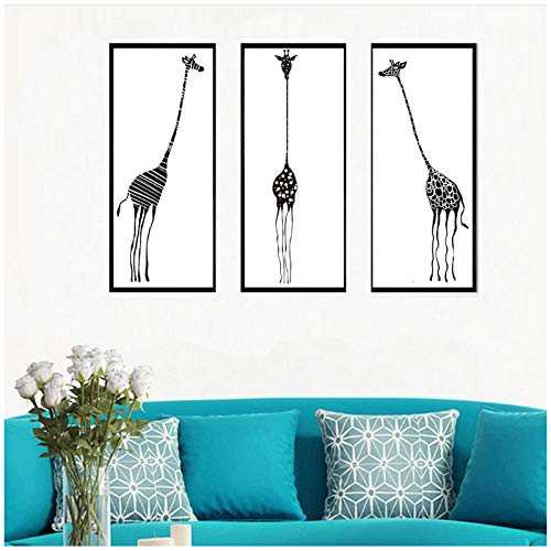 dayanzai Triptych Abstract Decorative Painting Living Room Modern Wall Painting Black and White Zebra Giraffe Canvas Painting 35X80Cmx3Pcs No ()