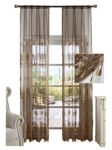 Simbra Nordic Style Pendant Sheer Curtain Flower Embroidery Transparent Window Drapery Rod Pocket Panel for Bedroom,Living Room(1 Panel,W50 x L84inch, Brown)-1280498SC1ZCBN75084-8507 ()