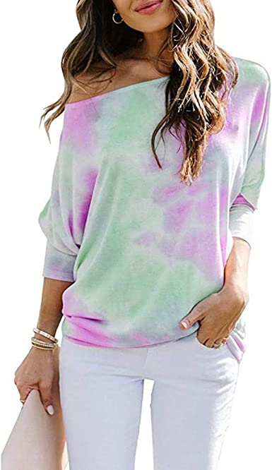 Solid Color Tie-Dye Printed Long Sleeve T-Shirt Fashion Tops Pullover Sweatshirts Kansopa Women Casual Strapless Leopard