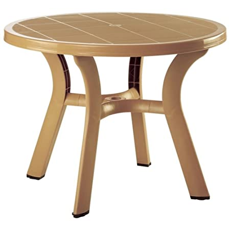 Truva Resin Round Dining Table 42 Inch Teak Brown 29 H x 42 W x 42 D