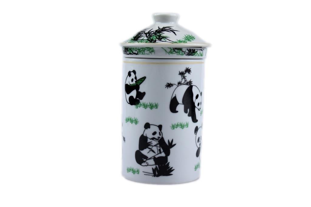 Chinese 3 Piece Mug with infuser. [White Panda] CZ Chao Zhou Ceramics
