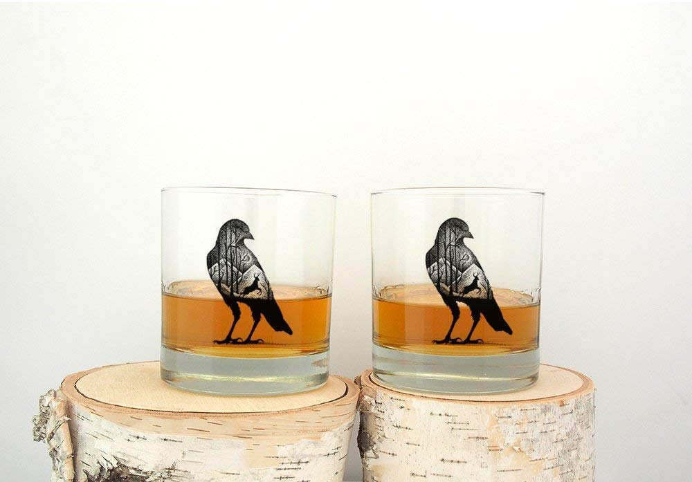 Set of Two 11oz Forest Animals Tumblers Whiskey Glasses