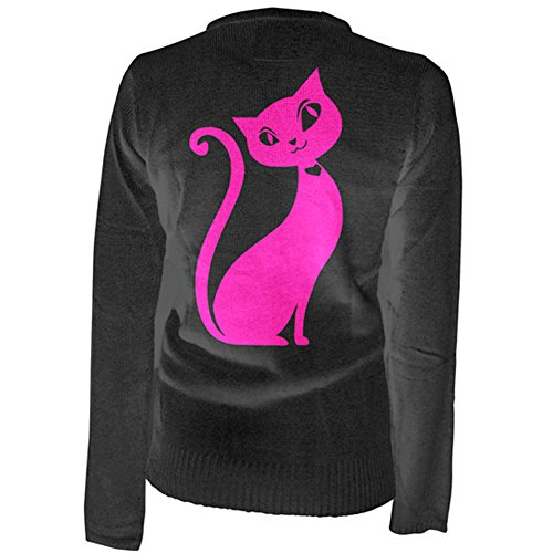 Womens-Pinky-Star-Kitty-Cat-Cardigan-Black