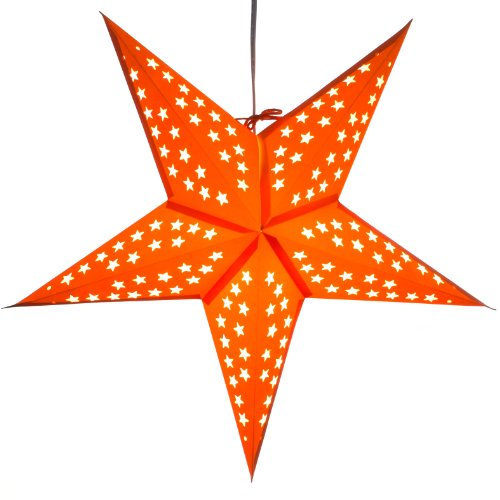 Paper-Star-Light-Lamp-Lantern-with-12-Foot-Power-Cord-Included-Orange
