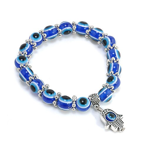 Phonphisai shop Charm Evil Eye Bead Protection Good Luck Bracelet Jewelry Hamsa Hand Bracelet ()