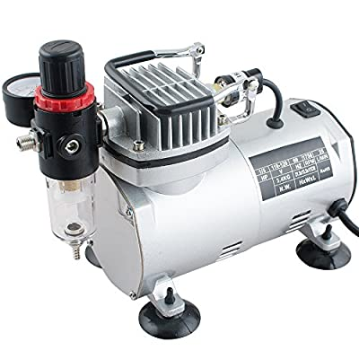 Funwill Shipping from USA Auto Airbrush Kit Air Brush Compressor Pump Spray Tattoo Art Nail Tool Paint Single Cylinder Piston Compressor Adjustable Displaying Environment Protect