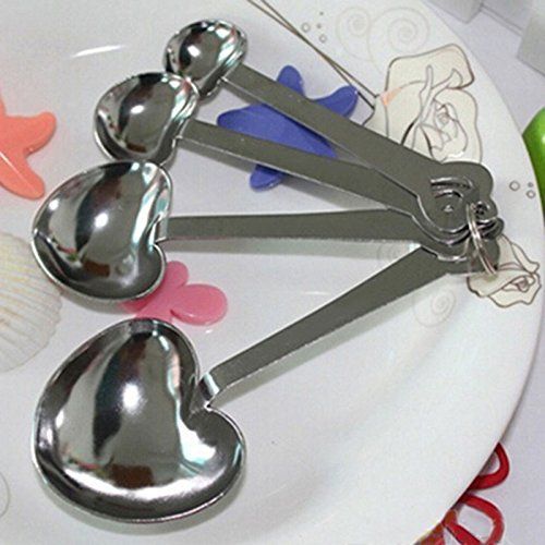 reentry-phenomenon One Set of Four Sweet Heart Shaped Measuring Spoons Wedding Favors