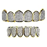 Premium CZ Grillz Set 2-Tone 14K Gold Plated With Silver Finish Bling Cubic Zirconia Teeth Hip Hop Grills
