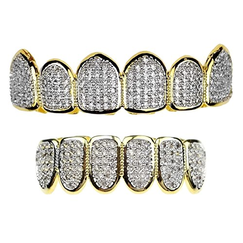 Premium CZ Grillz Set 2-Tone 14K Gold Plated With Silver Finish Bling Cubic Zirconia Teeth Hip Hop Grills by Bling Cartel (Image #5)